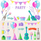 Bright colorful cheerful cute pattern on the theme of party. Vector illustration. Royalty Free Stock Photos