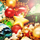 Bright Colorful Christmas Background with Xmas Decoration Stock Images