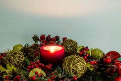Christmas decoration with fir branches and balls stock photography