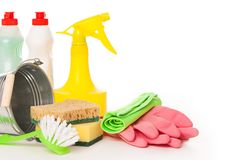 Bright colorful cleaning set on a background Stock Images