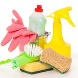 Bright colorful cleaning set on a background Stock Photos