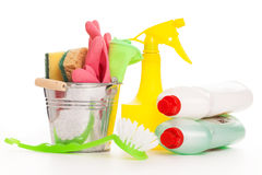 Bright colorful cleaning set on a wooden table Stock Photography