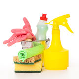 Bright colorful cleaning set on a wooden table Royalty Free Stock Image