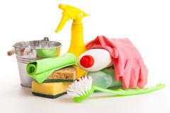 Bright colorful cleaning set on a wooden table Stock Photo