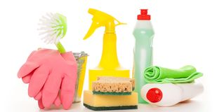 Bright colorful cleaning set on a wooden table Stock Photos