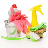 Bright colorful cleaning set on a wooden table Royalty Free Stock Photo