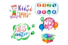 Bright colorful collection of illustrations and letterings for kids club isolated on white background.  stock illustration