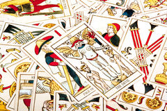 Bright Colorful Collection of Scattered Tarot Cards Royalty Free Stock Photos
