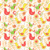 Bright colorful comics pattern with birds and leaflets Royalty Free Stock Image