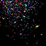Bright Colorful Confetti. On a black background Stock Photography