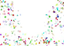 Bright and colorful confetti flying on the floor. Isolated background. 3D illustration Royalty Free Stock Photos