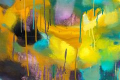Bright colorful contrast abstract paint in excellent yellow, orange, blue tones. High resolution photo stock image