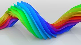 Bright colorful curved twisted shape 3D rendering vector illustration