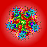 Bright, colorful decoration of flowers with curls. Colorful floral composition for the design, decoration or background Stock Photography