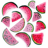 Bright colorful delicious tasty yummy ripe juicy cute lovely red summer fresh dessert slices of watermelon pat Stock Images