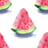 Bright colorful delicious tasty yummy ripe juicy cute red summer autumn fresh dessert slices of watermelon with shadow pattern wat. Ercolor hand illustration Stock Images