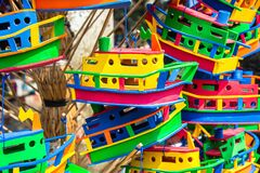 Bright colorful display of toy boats.