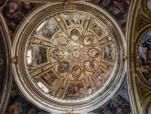 Bright, colorful dome of the old church. In the beautiful city of Naples, Italy. Travel, Vacation and Religion concept stock photo