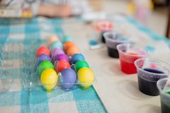 Bright and colorful Easter eggs royalty free stock images