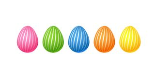 Bright colorful easter eggs Set of pink blue green orange yellow eggs with a spiral line pattern Isolated on white background. Bright colorful easter eggs. Set vector illustration