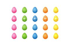 Bright colorful easter eggs Set of pink blue green orange yellow eggs with spiral lines specks flowers pattern Isolated vector illustration