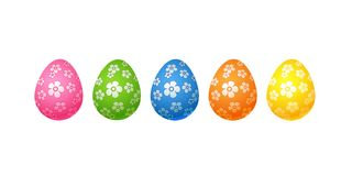 Bright colorful easter eggs Set of pink blue green orange yellow eggs with flowers floral pattern Isolated on white background Egg stock illustration