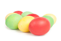 Bright colorful eggs on white Stock Image