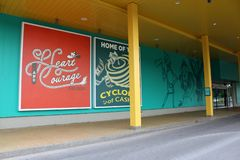 Bright and colorful building highlighting beloved author and theme, , Yellow Brick Road Casino, Chittenango, New York, 2018. Bright and colorful exterior of stock images