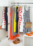 Bright colorful female fashion clothes Stock Photo