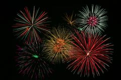 Bright Colorful Fireworks Stock Image