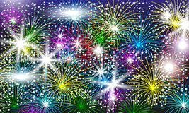 Bright colorful fireworks with falling snow. Festive background. For design new year. Vector illustration Royalty Free Stock Image