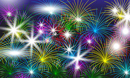 Bright colorful fireworks. Festive background for design. Vector Stock Images