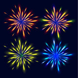 Bright colorful fireworks. The festive firework.. Set of various firework effects. Vector illustration Stock Image