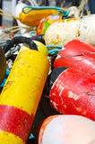Bright colorful fishing buoys Stock Photography