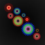 Bright colorful flowers on a black background. Vector illustration Royalty Free Stock Image