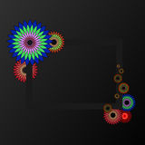 Bright colorful flowers on a black background. Vector illustration Royalty Free Stock Images