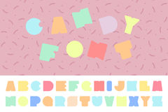 Bright colorful font. Funny english alphabet. Candy letters. Stock Photos