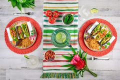 Colorful food flat lay with tacos and margaritas. Bright and colorful food flat lay with tacos and margaritas for Cinco de Mayo