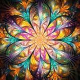 Bright colorful fractal flower stock illustration