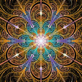 Bright colorful fractal flower background royalty free illustration