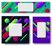 Bright colorful frames with abstract pattern. Colorful backgrounds with white frame and bright abstract pattern. Vector paper illustration.r Stock Photo
