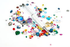 Bright colorful gems isolated on white background Stock Photography
