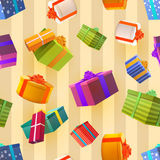 Bright colorful gift boxes on retro background, many presents seamless pattern. Stock Images