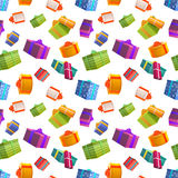 Bright colorful gift boxes on white background, many presents seamless pattern. A lot of bright colorful gift boxes on white background, many presents seamless Royalty Free Stock Photo