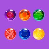 Bright Colorful Glossy Candies with Sparkles Stock Photo