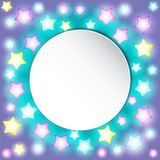 Bright colorful glowing star lights on gradient background. vector illustration