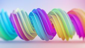 Bright colorful gradient spiral 3D shape vector illustration