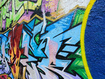 Bright, colorful graffiti. Beautiful work, street art colorful. Graffiti picture on the wall of the building. Street art, labels of different colors royalty free stock photography