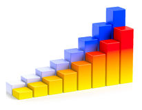 Bright colorful growing bar chart in two rows business concept Royalty Free Stock Photography