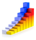 Bright colorful growing bar chart in two rows business success c. Abstract creative statistics, financial growth, business success and development concept Stock Photo